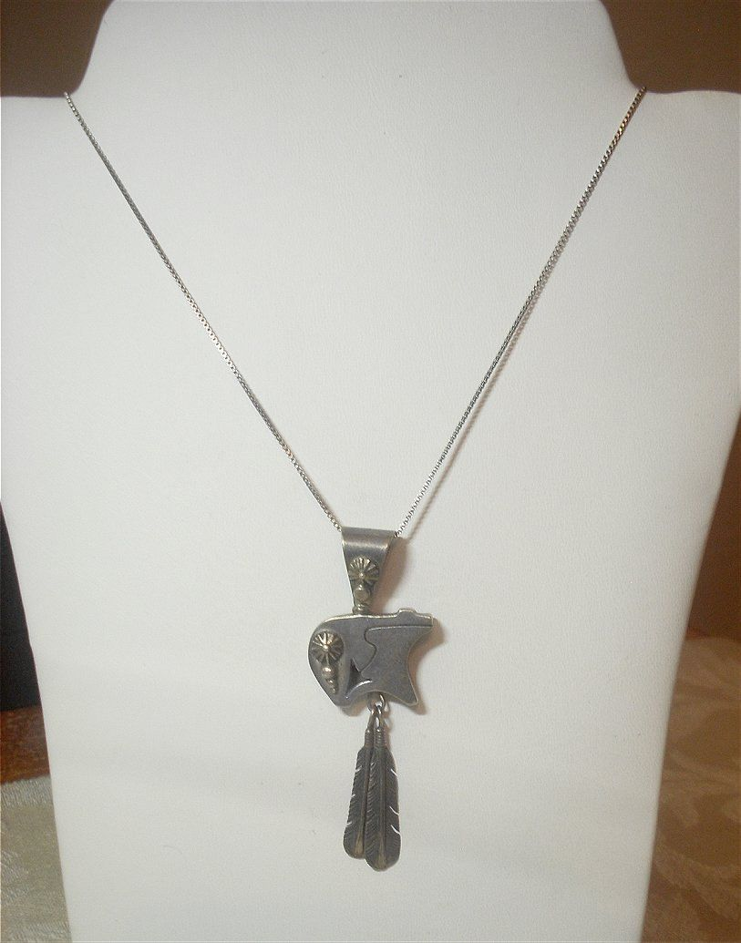 Signed navajo sterling silver spirit bear with feathers symbols signed navajo sterling silver spirit bear with feathers symbols pendant by native american artist jk includes italian box chain buycottarizona Images
