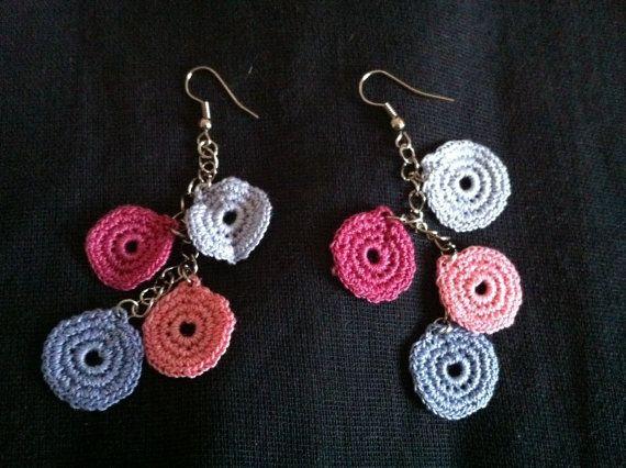 crochet earrings, crochet lace jewelry, pink and blue earrings, via Etsy.