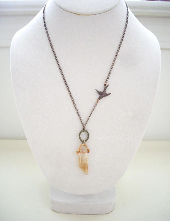 I wire wrapped beautiful phantom quartz crystal point with copper i wire wrapped beautiful phantom quartz crystal point with copper wire i matched with antique bronze color chain and i attach swallow bird charm on one mozeypictures Gallery