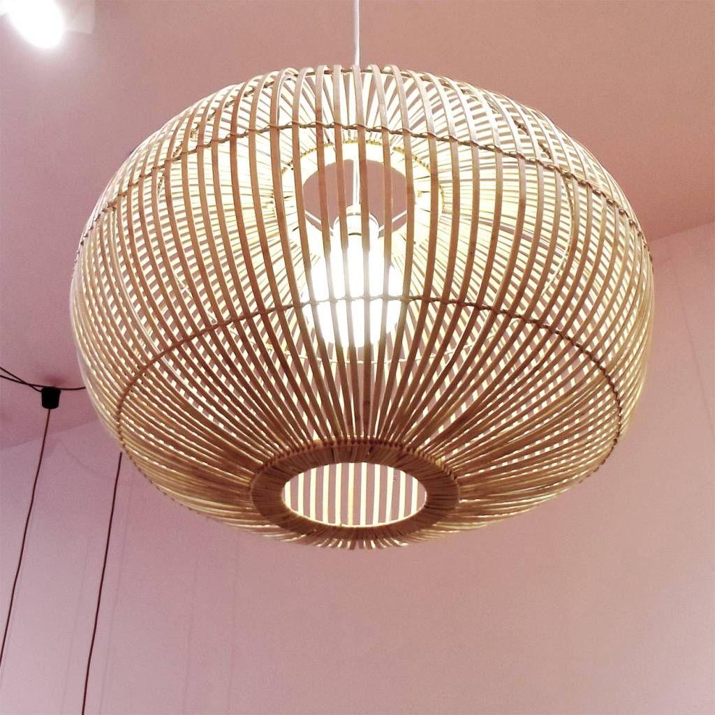 Extra groot model hanglamp van bamboe hout scandinavisch design sfeervol licht betaal veilige