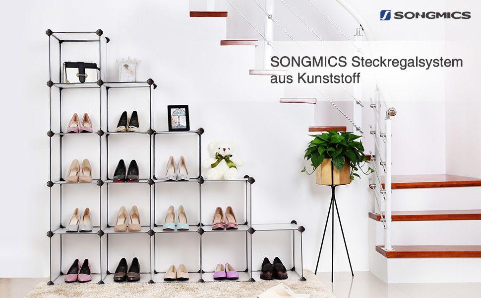 Songmics Schuhregal Kleiderschrank Aus Kunststoff Regalsystem