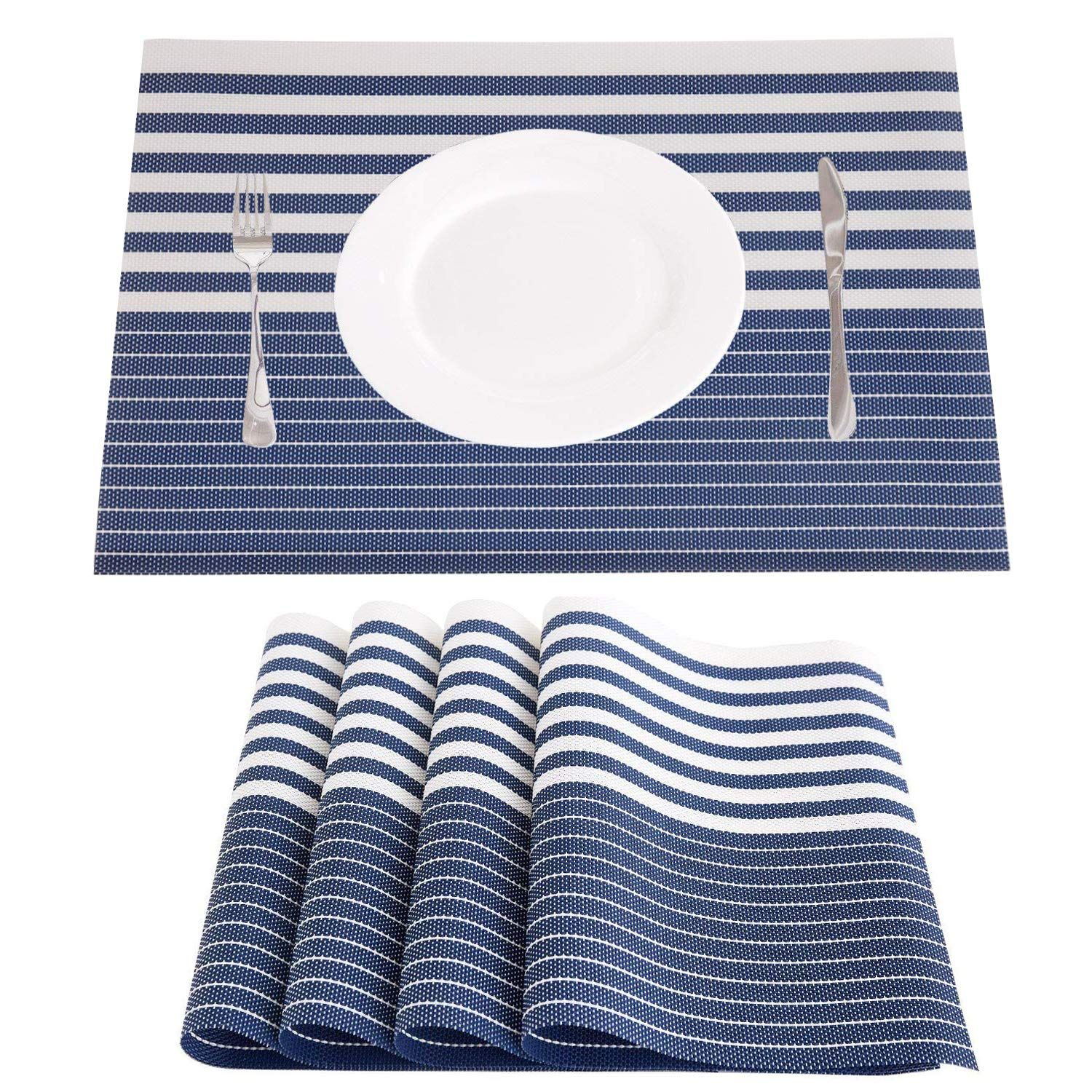 Njcharms Placemats Set Of 4 Heat Resistant Washable Nautical Blue Placemats For Dining Kitchen Table En Blue Placemats Woven Placemats Dining Table In Kitchen
