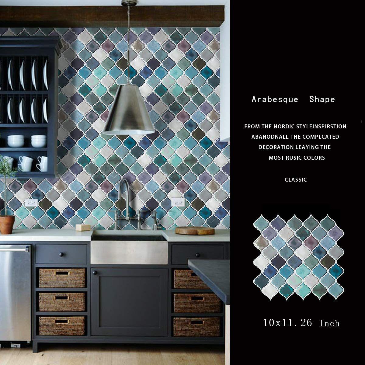 Turquoise Peel and Stick Tile Backsplash for Kitchen