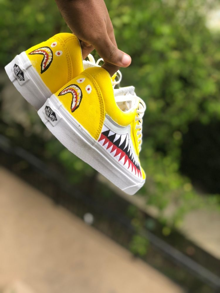 58bf5333925b41 yellow old skool bape vans size 8 Shark Teeth  fashion  clothing  shoes   accessories  mensshoes  athleticshoes (ebay link)