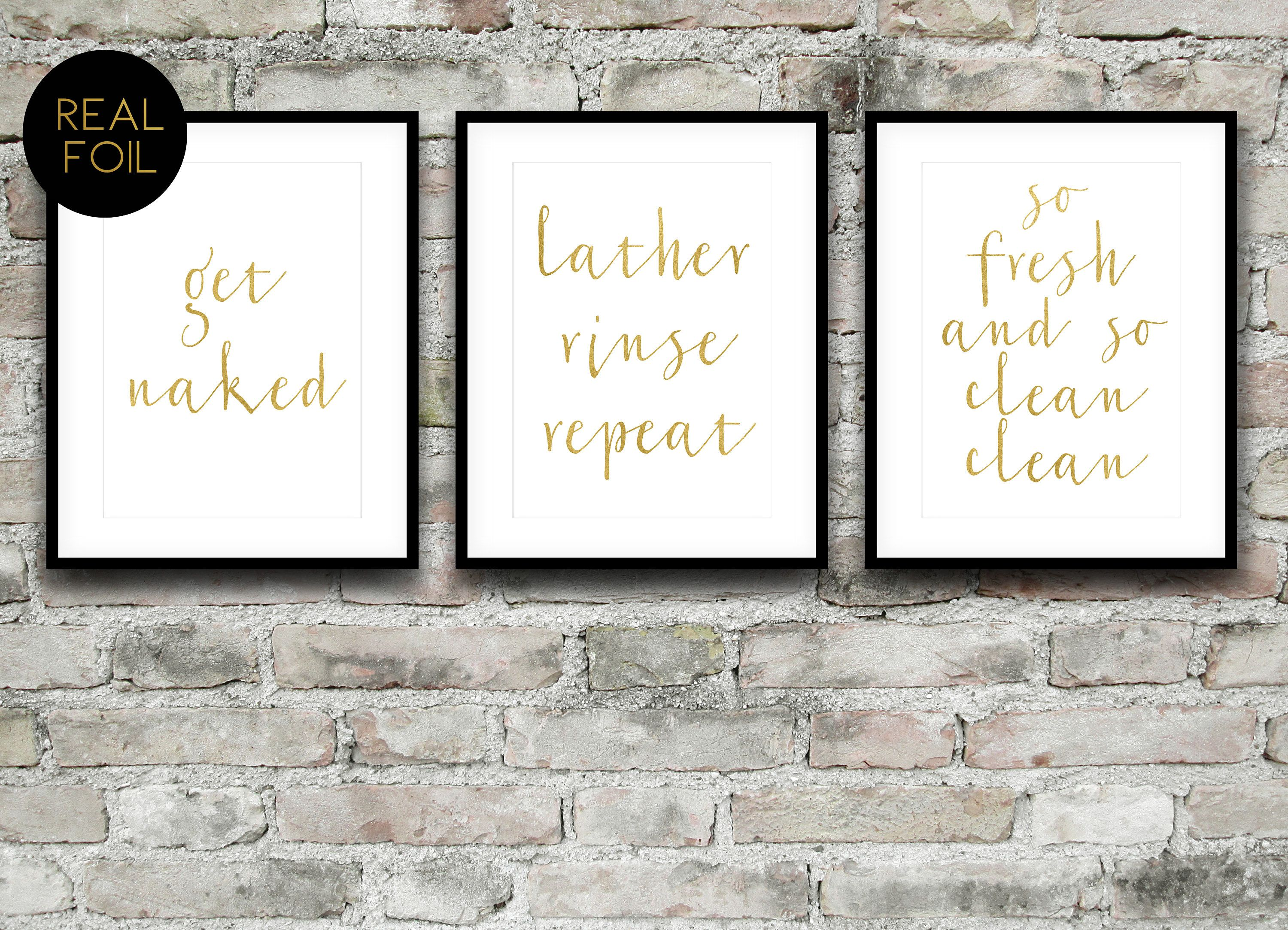 GET NAKED A3 A5 8x10 Real Foil Print Quote Home Decoration Wall Art Quote Sign