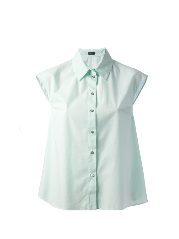 Mint green stretch cotton sleeveless shirt featuring a classic collar and a front button fastening, from Jil Sander Navy. http://www.farfetch.com/shopping/women/jil-sander-navy-sleeveless-shirt-item-10615076.aspx