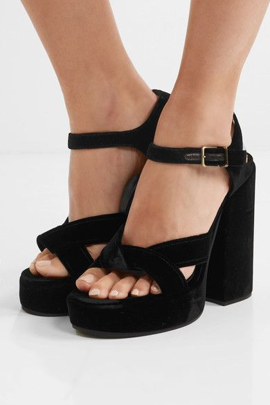 Heel measures approximately 100mm/ 4 inches with a 30mm/ 1 inch platform  Black velvet