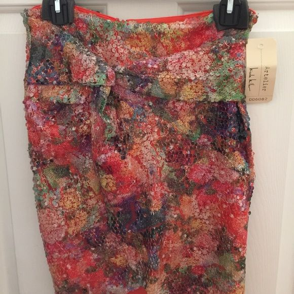 Nicole Miller Artelier Skirt This skirt is amazing! It's got some sequins and the fabric is beautiful. I really wish it was my size because it's amazing and would match any top. Nicole Miller Skirts
