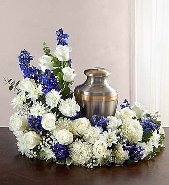 Cremation Wreath Blue And White Funeral Floral Arrangements Funeral Floral Funeral Flower Arrangements