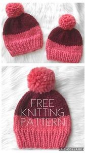 Photo of Free knitting pattern for beginners for the two-tone, chunky hat