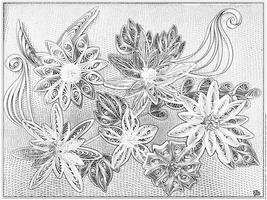 Imprimer coloriage fleurs de papier quilling quilling - Modele dessin fleur ...