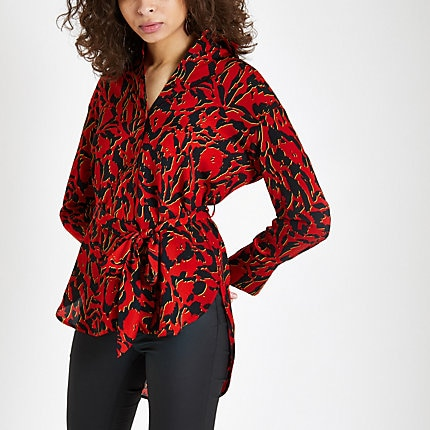 a2ee619d78b06e Red print tie waist shirt in 2019 | Products | Shirts, Tie, Shirt ...
