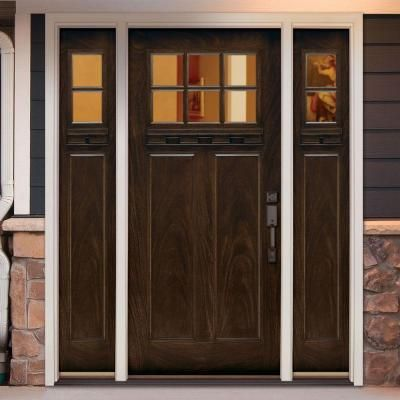 Feather River Doors Craftsman 6 Lite Clear Stained Chestnut Mahogany Fiberglass Prehung Front Doo Craftsman Front Doors Wood Doors Interior Painted Front Doors