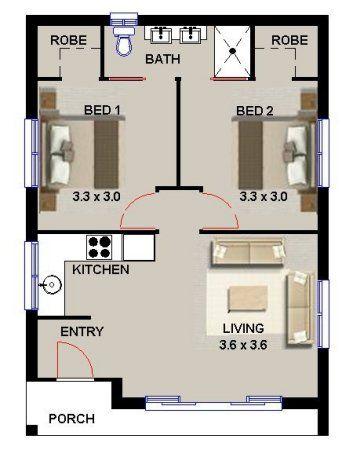 2 Bedroom Floor Plan Australian House Plans Small House Plans House Plans