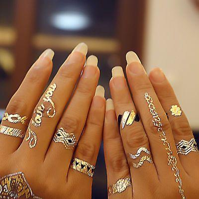 Modeschmuck ringe silber  Details zu GOLD Flash Tattoos Ringe SILBER Modeschmuck Armkettchen ...