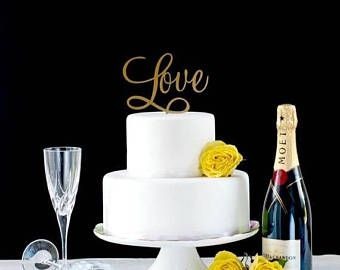 On Sale This Weekend Only Love Cake Topper Romantic Cake Topper Wedding Cake Topper