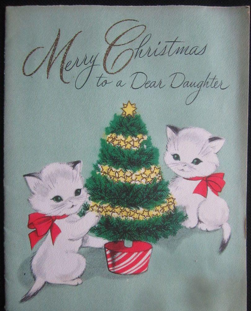 Vintage christmas american greeting card 2 white kittens with red vintage christmas american greeting card 2 white kittens with red bows kristyandbryce Choice Image