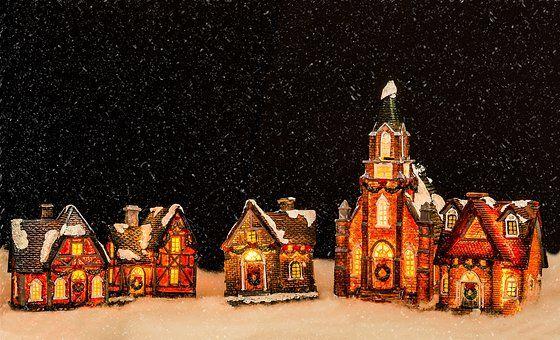 Christmas Decoration, Church, Homes Fanciful/ Mini Street Scenes - christmas decors