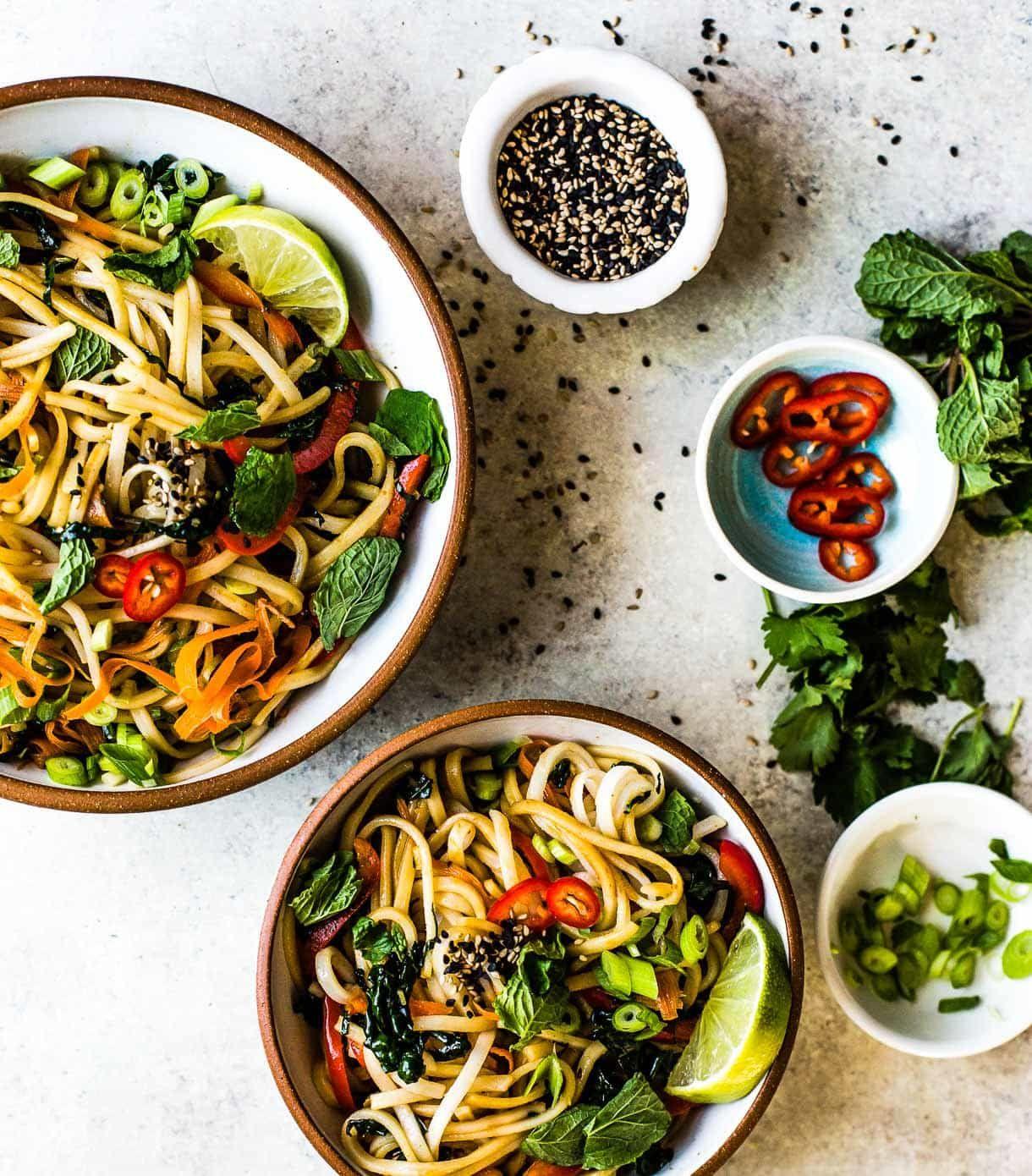 Sesame Thai Rice Noodles With Vegetables Vegan Recipe Recipe In 2020 Rice Noodles Vegetarian Recipes Dinner Thai Rice Noodles