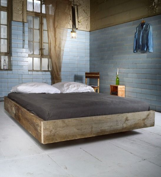 Holzbett schwebend  Upcycle Bett CADENET