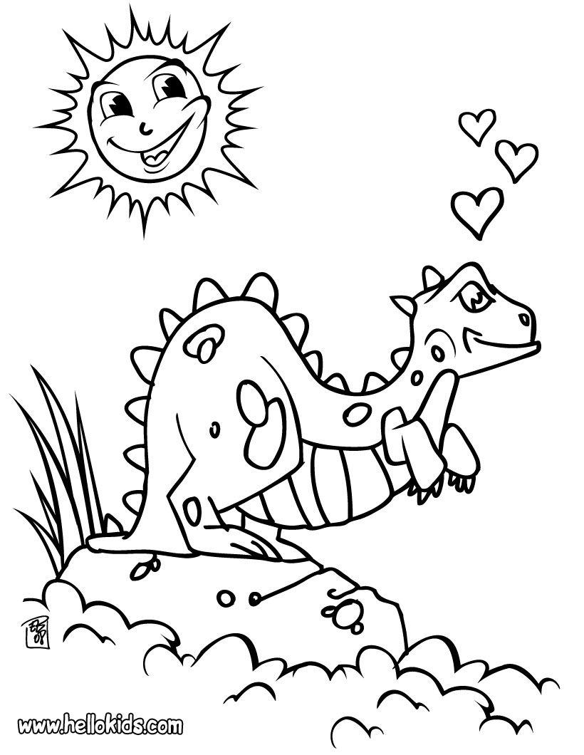 dinosaur in love coloring page | MM bday | Pinterest