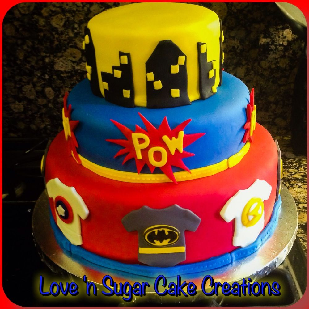 Exceptional Superhero Theme Baby Shower Cake. All Fondant Accents And Hand Painted  Batman Logo!