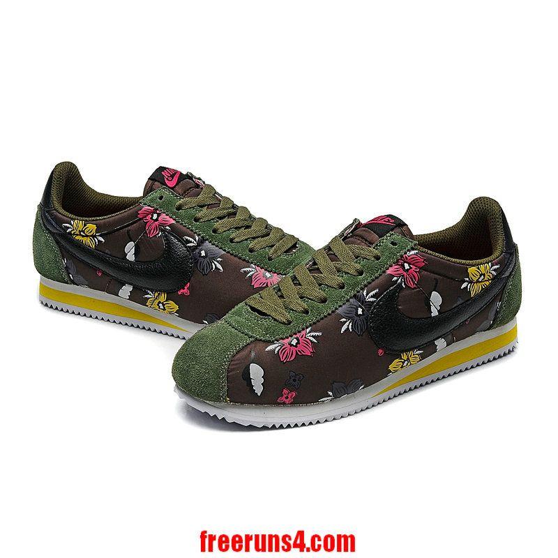 watch 8b70f 504fe Nike Cortez Womens Flowers Army Green Black. Nike Cortez Womens Flowers Army  Green Black Cheap Running Shoes ...