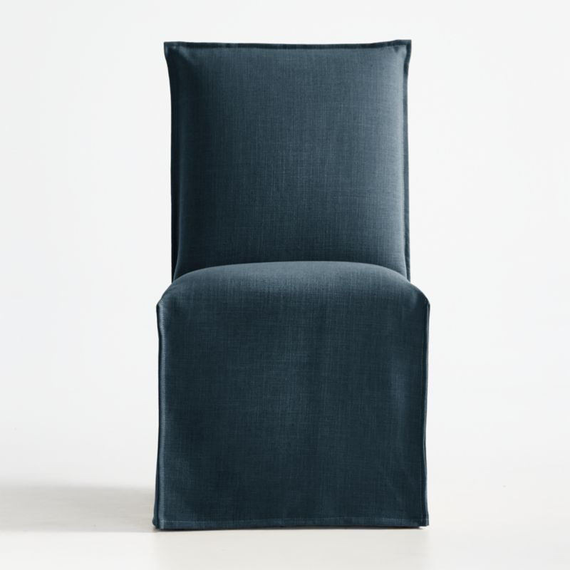 Addison navy slipcovered dining chair crate and barrel