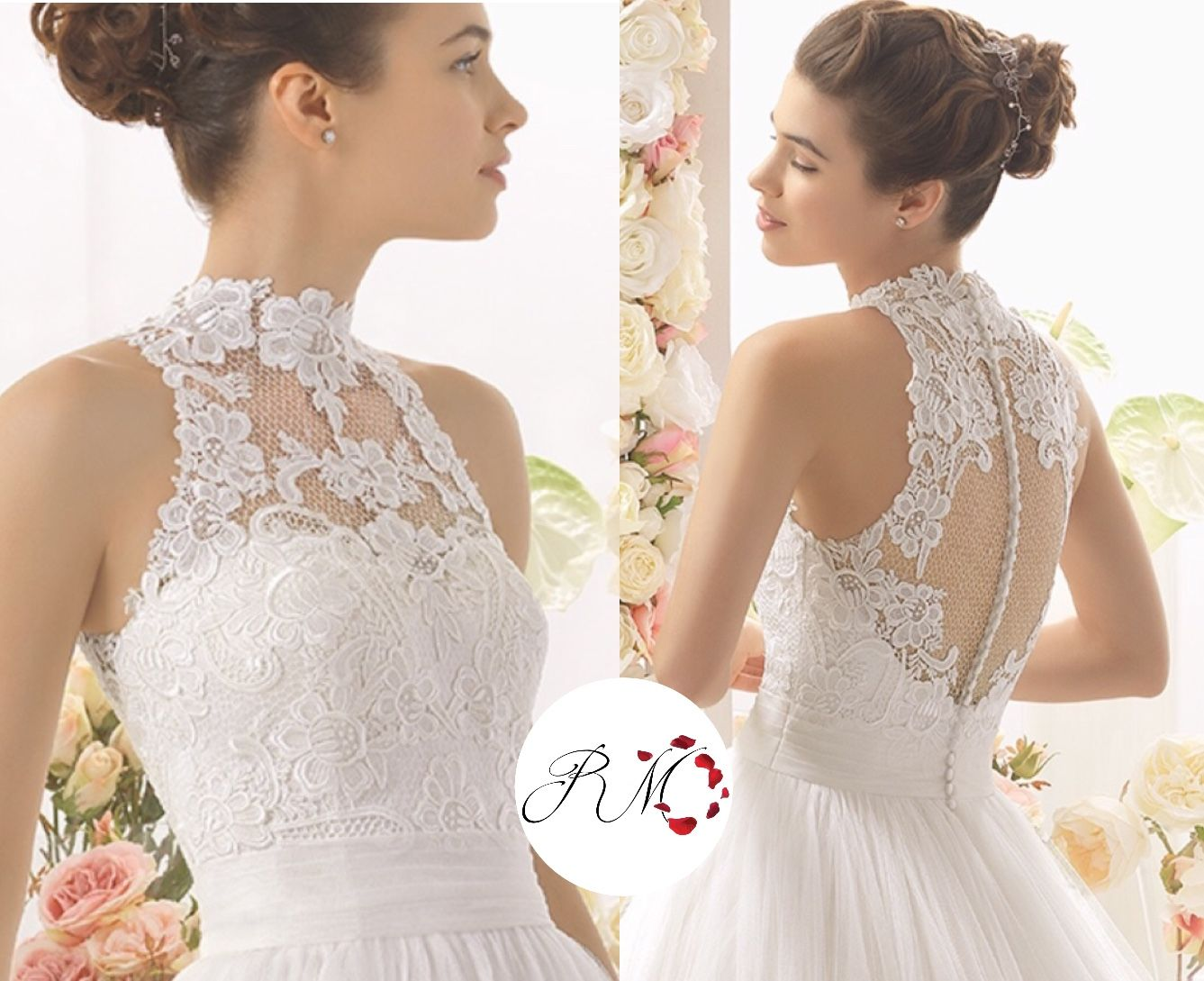 Halter Neck Accessory Lace Appliqued Onto Tulle High Neck Style The Back In The High Collar Wedding Dress High Neck Wedding Dress Halter Wedding Dress Lace