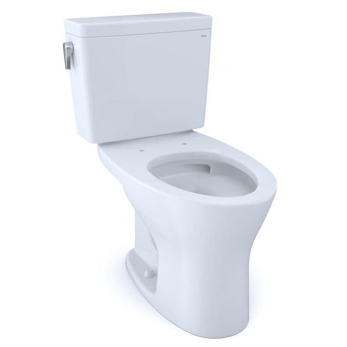 Toto Drake Cotton White Watersense Dual Flush Elongated Standard Height 2 Piece Toilet 12 In Rough In Size At Lowes Com In 2020 Water Sense Toilet Toto