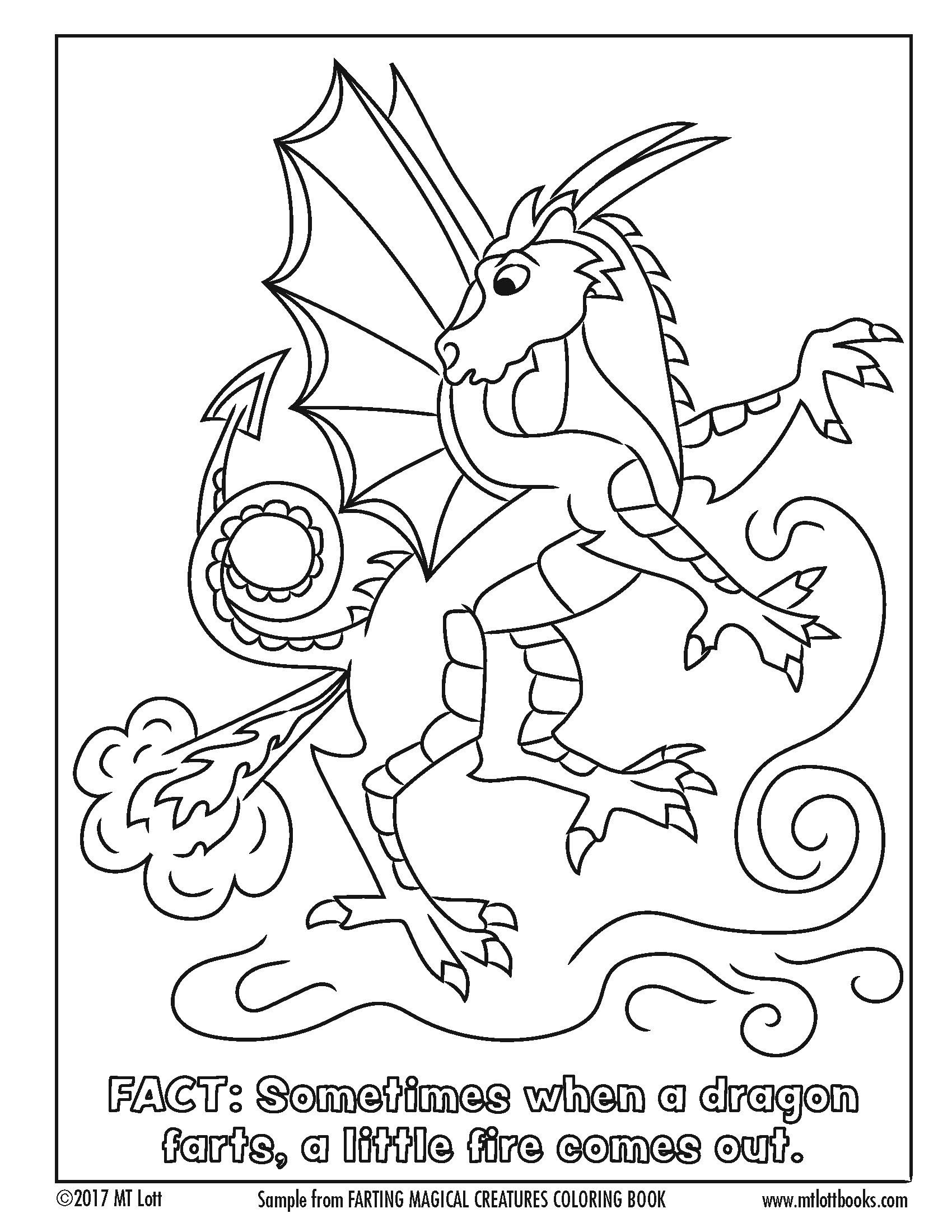 Free Coloring Page From M T Lott S Farting Magical Creatures