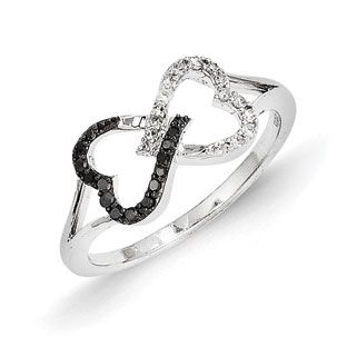 14K White Gold Black White Diamond Connected Heart Infinity Ring - Gemologica, A Fine Online Jewelry Store  Posted to the Stufflicious.com community storefront by gemologica. Buy it directly from gemologica.com for $342 today. #Rings #Accessories #Womens #Apparel #Fashion #Style #Bling #Bling