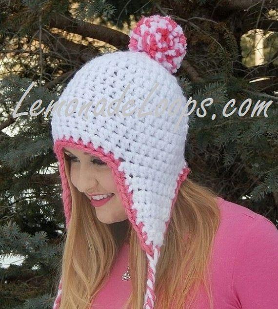 Crochet Beanie Pattern Classy Pom Pom Hat Beanie With Ear Flaps