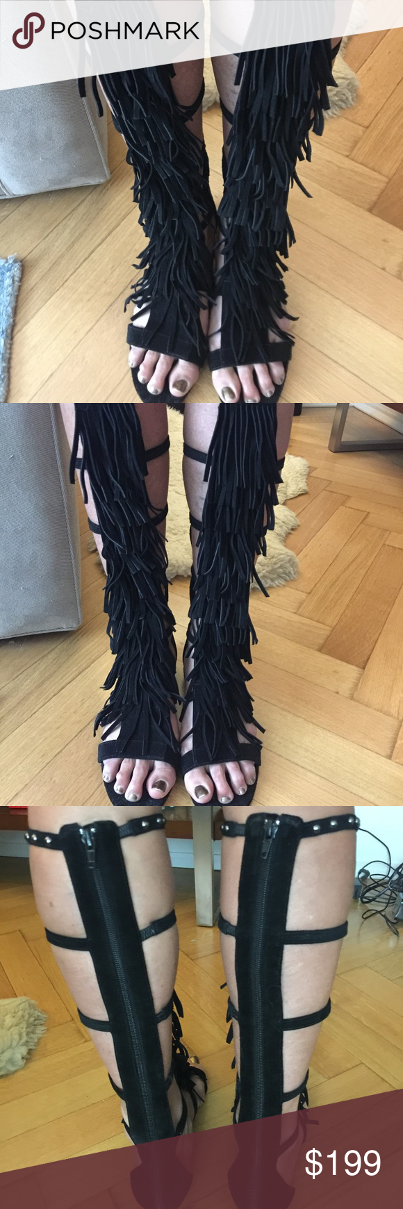 6e6a721db4a7 New Alice and Olivia Fringe Stud Suede Sandals New Alice and Olivia Paula  Fringe and Studs Suede Gladiator Sandals. Retail  398.00. Size  39EU 8.5US.