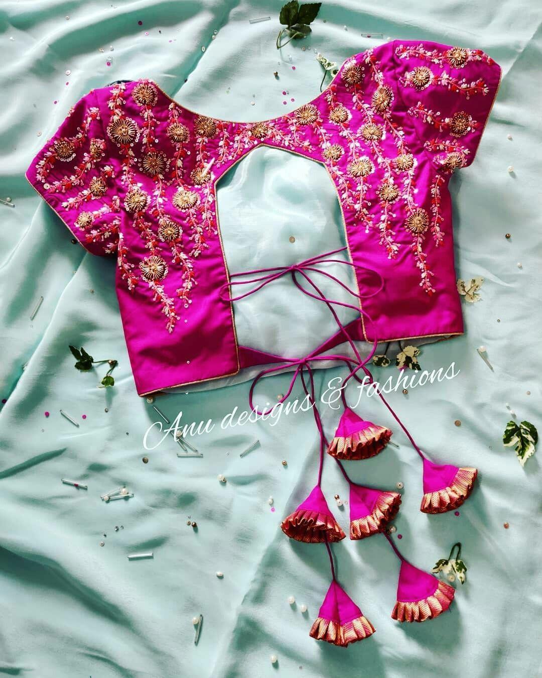 30+ Latest Trending Silk Saree Blouse Designs - MyKingList.com #blousedesignslatest