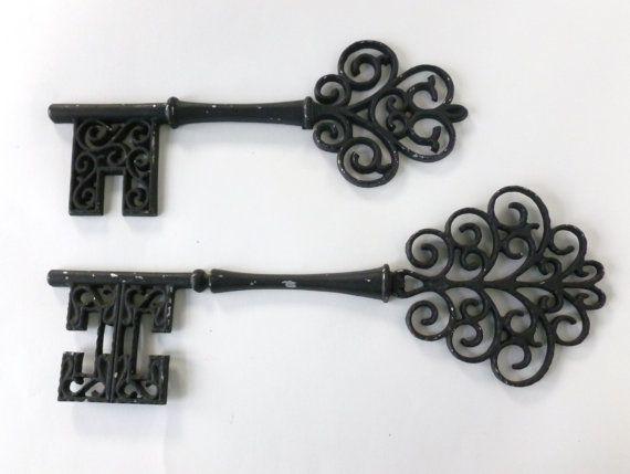 Skeleton Key Wall Hangings Set of Two Oversized Black Metal Keys by Sexton  Kitschy Home Decor