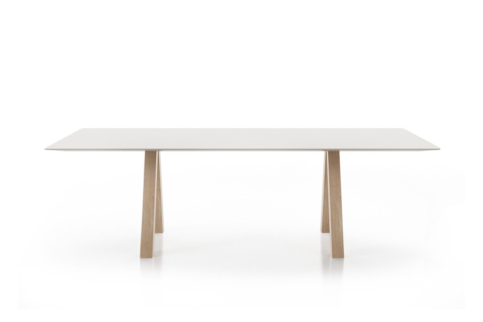 Table Extensible Design Italien trestle simple table matt oak, white ral 9003, 240w x 90d x