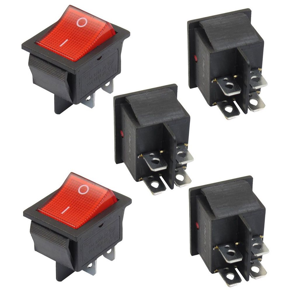 5 x Red Illuminated Light On/Off DPST Boat Rocker Switch 16A/250V ...