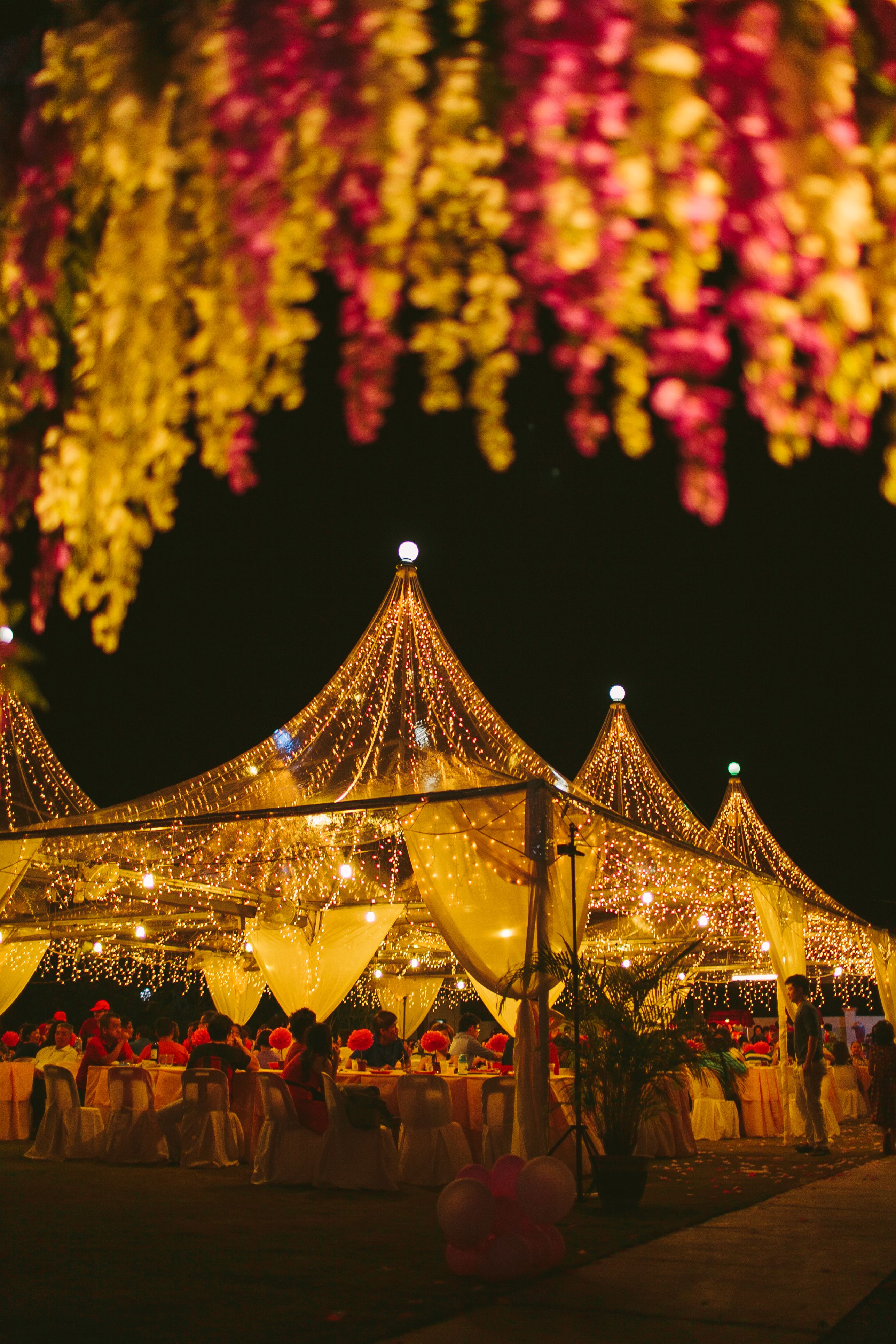 vslc garden wedding.transparent canopy with fairy lights
