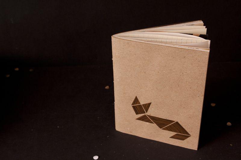 Notizheft Holz Tangram Fuchs von bär von pappe auf DaWanda.com