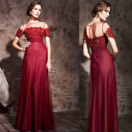 Couture Luxury Burgundy Red Short Sleeve Modern Vintage Formal ...