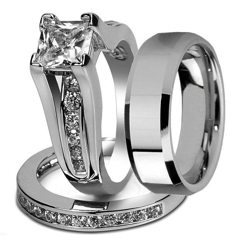 And Stainless Steel Princess Wedding Ring Set & Beveled Edge Band