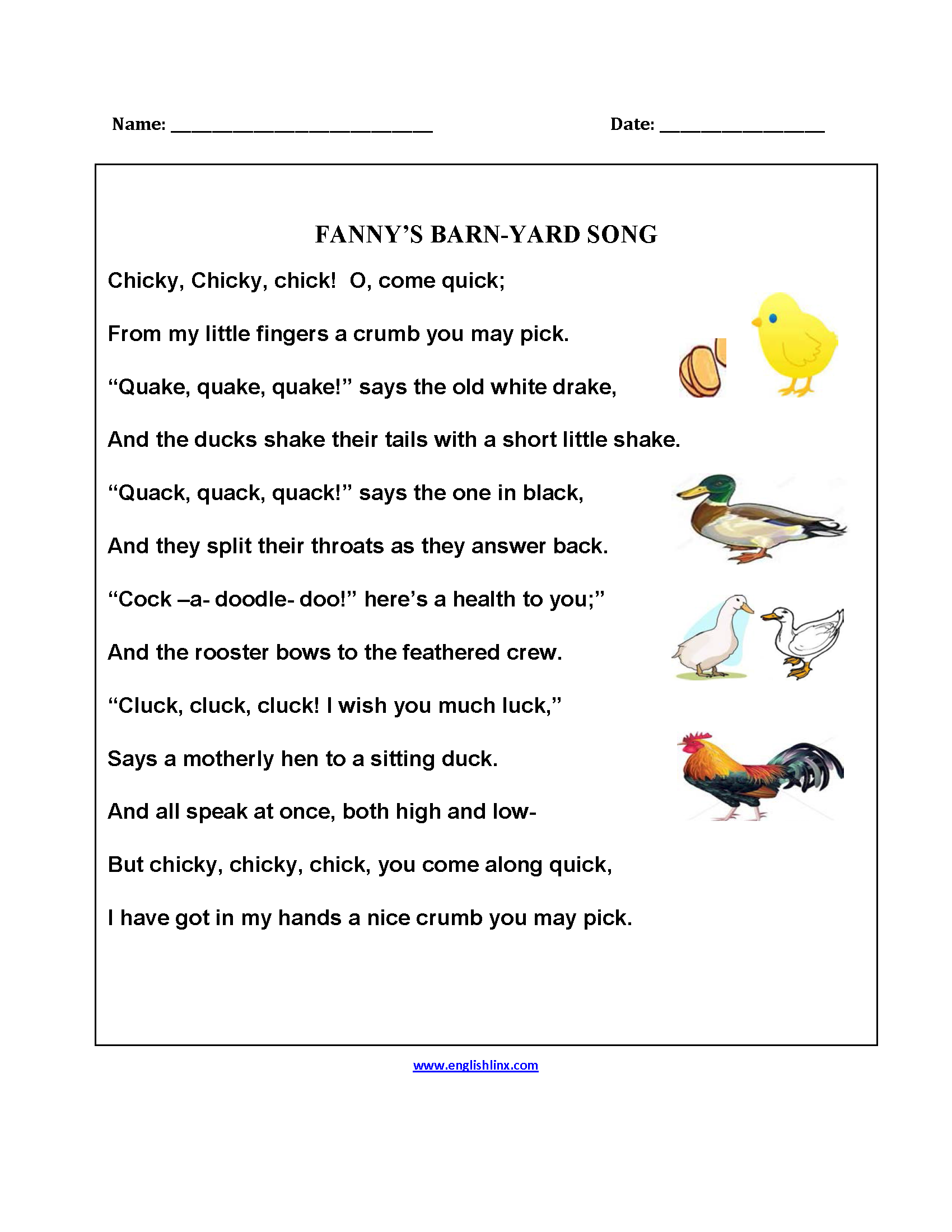 Fanny S Barnyard Song Poetry Worksheets