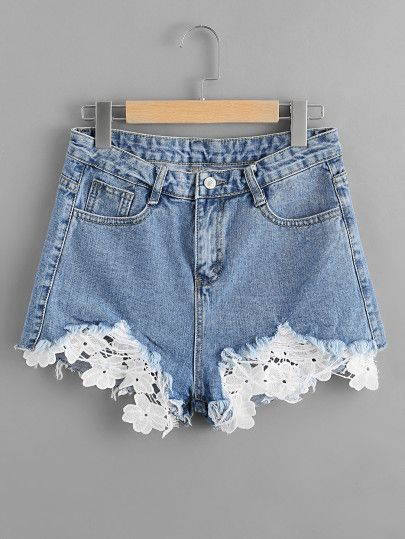 Shorts en denim de borde crudo contraste de croché | Ropa de