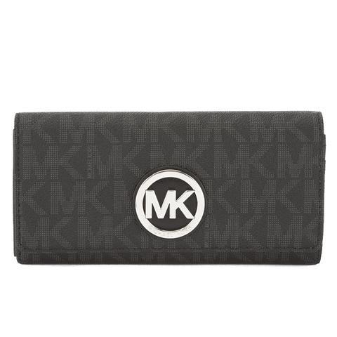 Michael Kors Black Jacquard Fulton Logo Carryall Wallet (New with Tags)