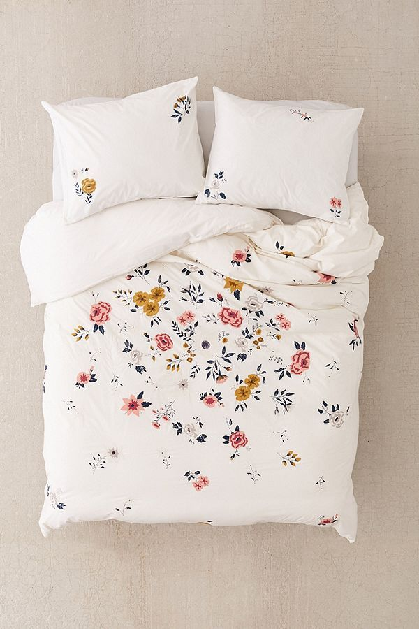 Blossom Embroidered Duvet Cover Home, White Bedding With Embroidered Flowers