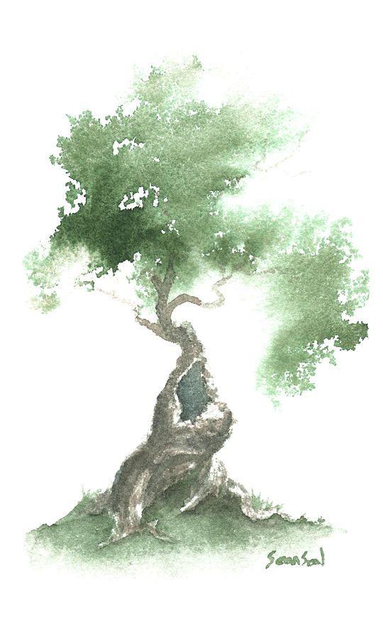 Little Zen Tree 676 By Sean Seal Peinture Aquarelle Aquarelle