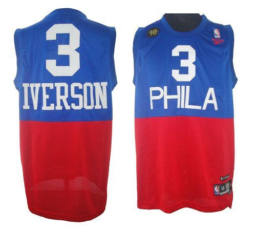 76ers  3 Allen Iverson Red Blue Reebok 10TH Throwback Stitched NBA Jersey 0eaf6514a