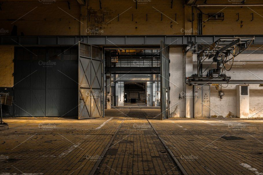 Industrial Interior with Large Door by svedoliver on