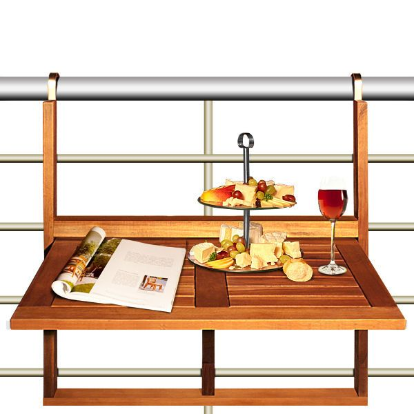 Table balcon bistrot pliant tablette suspendue 64x45x87 cm - Table balcon pliante rabattable ...